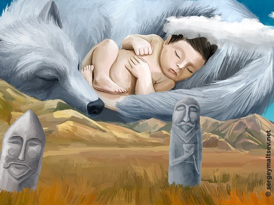 """Illustration for the movie """"Wolf in the history of the Turks"""" stone the turks birth mountain steppe sleeping child wolf balbal"""