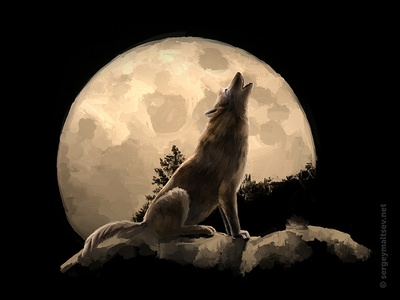 """Illustration for the movie """"Wolf in the history of the Turks"""" night moon voice howling steppe wolf wolf"""