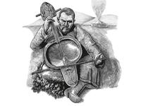 Musician playing on kobyz