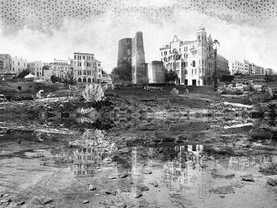 Baku city Visual Art visual visual art poster city image create design art composite  image retouche photo image editing concept art photoshop