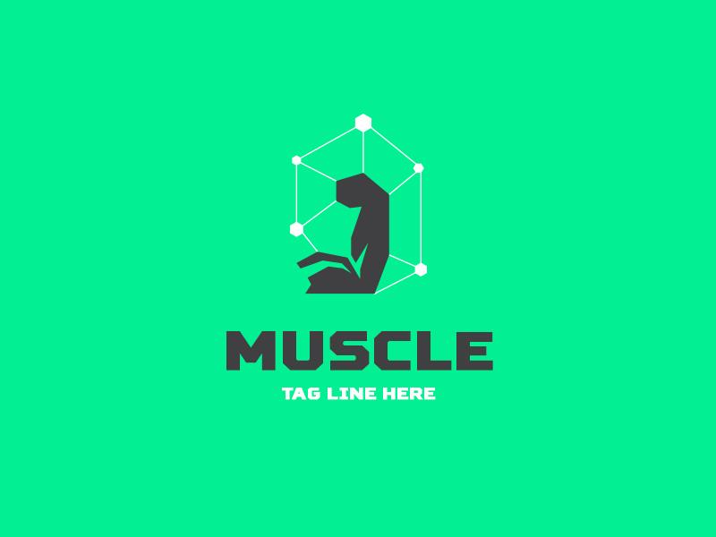 Muscle arm logo forsale sale ready online buy design unique logotype logo strength biceps gym health bodybuilding bodybuilder muscle arm