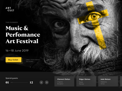 Landing page concept for Art festival