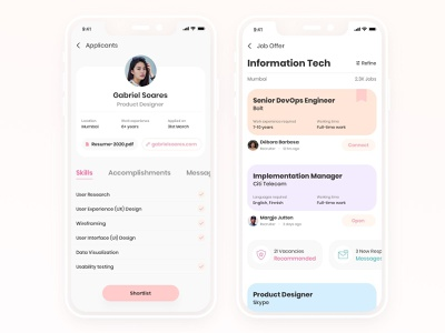 Job Search/Manager for Recruiters and Applicants job posting mobile job listing profile app design hire clean minimal job search job ui app