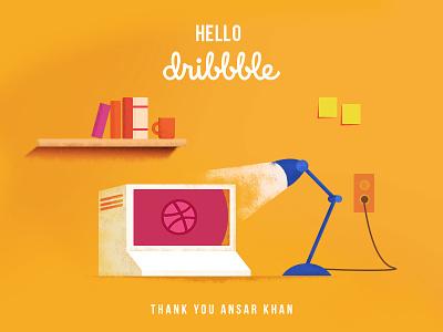 Hello, Dribbble! illustartion graphic design computer lamp retro pc