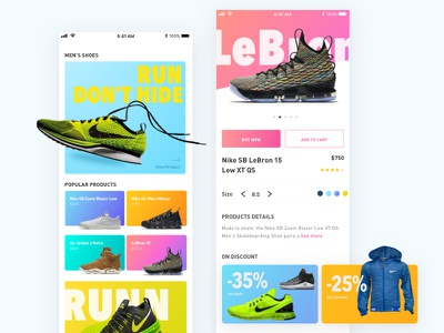 E-commerce Nike Store for Shoes product page store sneakers nike shoes shoes ux landing page colors e-commerce nike ui app
