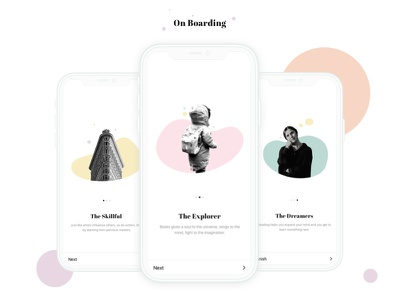 Day 2 - On Boarding - Reader App mobile reader app clean ux app on boarding design ui
