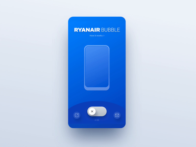 Ryanair Bubble Toggle interaction app blue bubble ryanair ui switch switcher toggle mobile