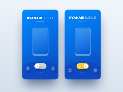 Ryanair Bubble Toggle animation ui toggle switcher switch ryanair mobile interaction blue bubble app