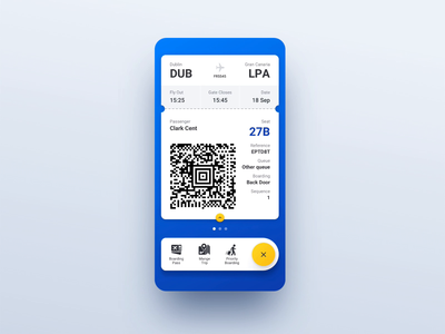 Boarding Pass Flip airport flight ticket scroll animation boarding pass flip ux animation ui ryanair mobile interaction bubble blue app