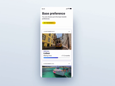 Base Transfer - Add Preference add open expand airport ux ui animation ryanair mobile interaction blue app
