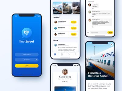 Fleet Tweet - Social Media App log in unread inbox mail social media message logo ux mobile ui blue app ryanair