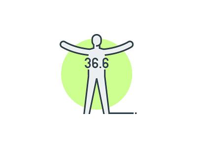 Normal body temperature icon person immunity human health 36.6 temperature body temperature logo icon vector illustration