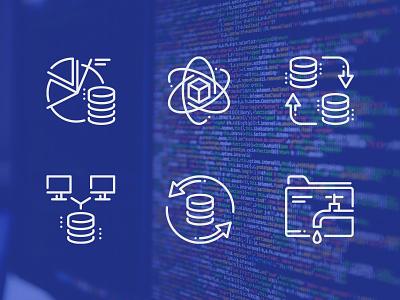 Database Icons database icons data storage data organization data analytics big data data outline icon vector