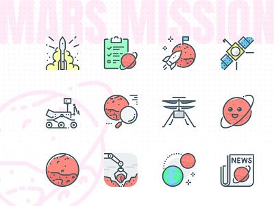 Mars mission Icons atlas v planets perseverance rover rover vector icons mars perseverance
