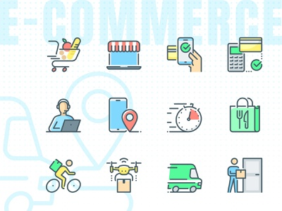 Contactless commerce Icons icons vector untact economy untact set express delivery express e-commerce delivery icons delivery delivering contactless economy contactless commerce