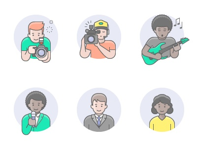 Avatars professions people avatars character vector icon illustration