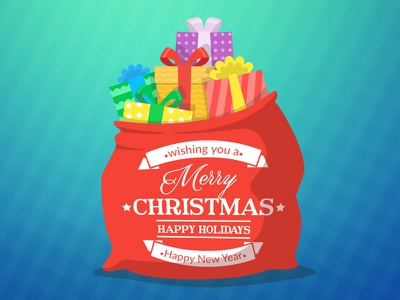 Bag gifts greeting card bag christmas card christmas sack vector illustration