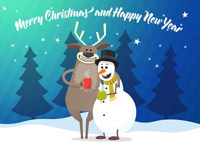 Chrismas story forest new year christmas card cartoon cartoon illustration snowman deer christmas character vector illustration