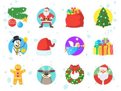 Christmas Icons icon set cartoon new year character illustration vector christmas tree cartoon icons christmas icon christmas icons