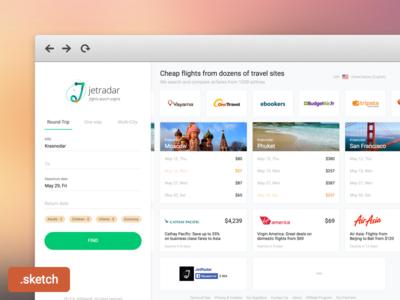 Redesign Jetradar sketch flat travel tickets airlines