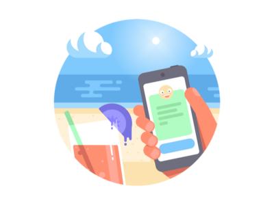 Sabai dee hand mobile app ocean cocktail beach flat illustration