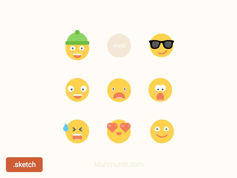 Emoticons Freebie Sketch icons flat sketch hat glasses emoticons smile