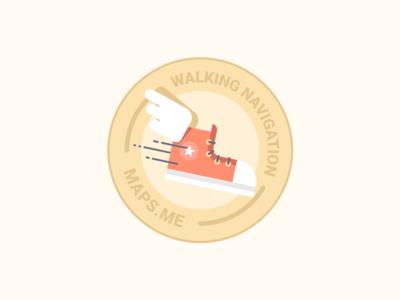 Walking Navigation badge illustration flat fly shoes star maps.me walking navigation