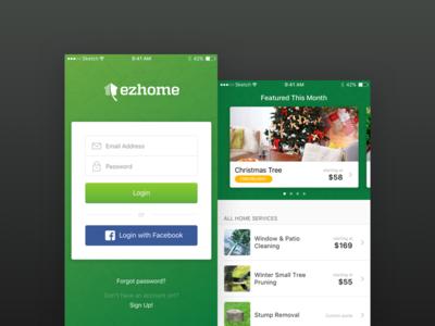 Ezhome ios app gallery login gardening store sketch ios ezhome
