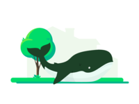 Something unexpected happened yard. grass tree error unexpected illustration empty state garden whale