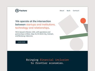 Factoro website design exploration mockup landing page finance fintech website design