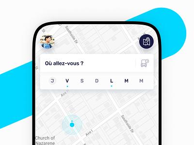 Ulys • Carpool research navigation agenda search map calendar carpool app interface ui ux