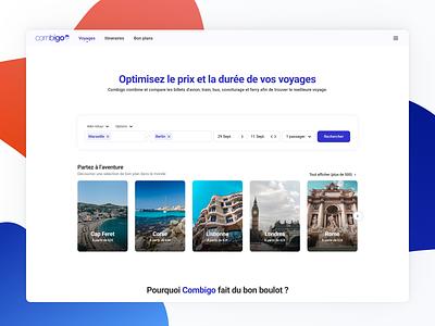 Combigo • Landing page car train plane search combigo travel landing page interface ui ux