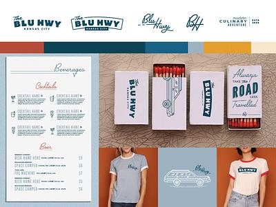 Blu Hwy Restaurant Branding logo kc restaurant food kansas city illustration typography design branding