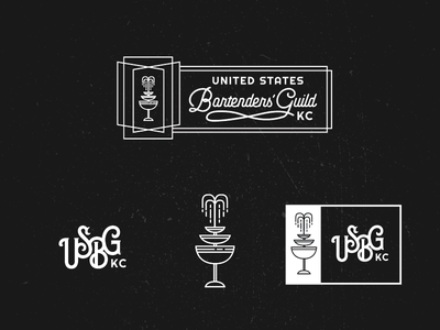 USBG KC logo marks drink glass water fountain branding bartenders coupe cocktail logo