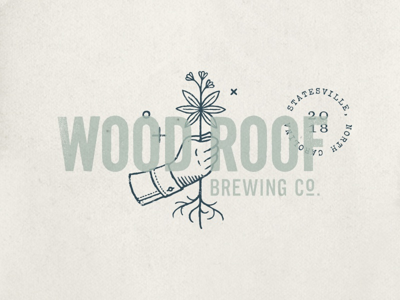 Wood Roof Bewing Co., Primary Logo custom identity typography illustration flower north carolina roof wood hand logo branding brewery