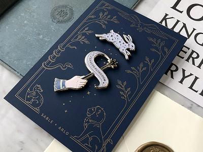 Expecto Patronum Pin Set + Letterpress backer card potterhead wizarding world wizard spell magic wand rabbit pin hogwarts illustration expecto patronum letterpress backer card enamel pin harry potter