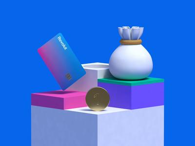 Revolut Illustrations 2.0 — Get Started money finance rendering render finance app animation illustration cinema 4d c4d 3d illustration 3d revolut