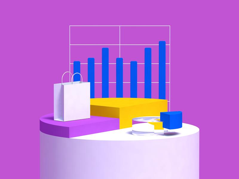Budgeting chart analytics app analytics shopping rendering render finance app app finance cinema 4d c4d illustration animation revolut 3d budget budgeting