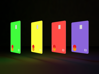 Revolut Junior Cards neon cards plastic card finance minimal neon colors neon junior cards junior banking credit cards cards bank card bank 3d render cinema 4d c4d 3d revolut