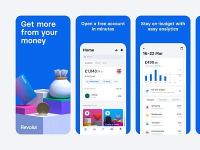 Revolut App Store Screenshots 2.0 mobile app finance cinema 4d c4d app screenshots screenshots 3d illustration 3d minimal google play store app store revolut app