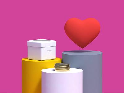 Donations heart finance app moneybox coin charity donate money donations 3d render render 3d animation finance cinema 4d illustration c4d 3d revolut animation