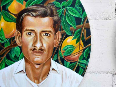 Abuelito painting acrylic paint portrait tree mangos mexico