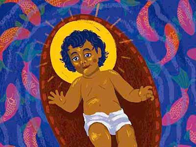 Peces En El Rio religious christmas water halo jesus fish baby