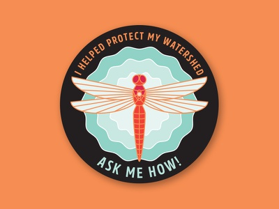 I Helped Protect My Watershed Sticker sticker ripples dragonfly water watershed
