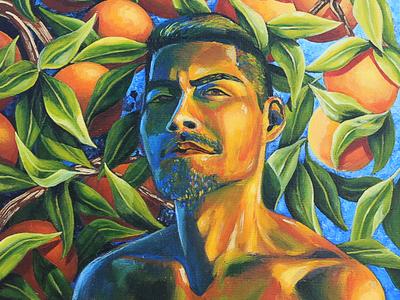 Sol En Mi Piel portrait tree orange painting latinx brown acrylic