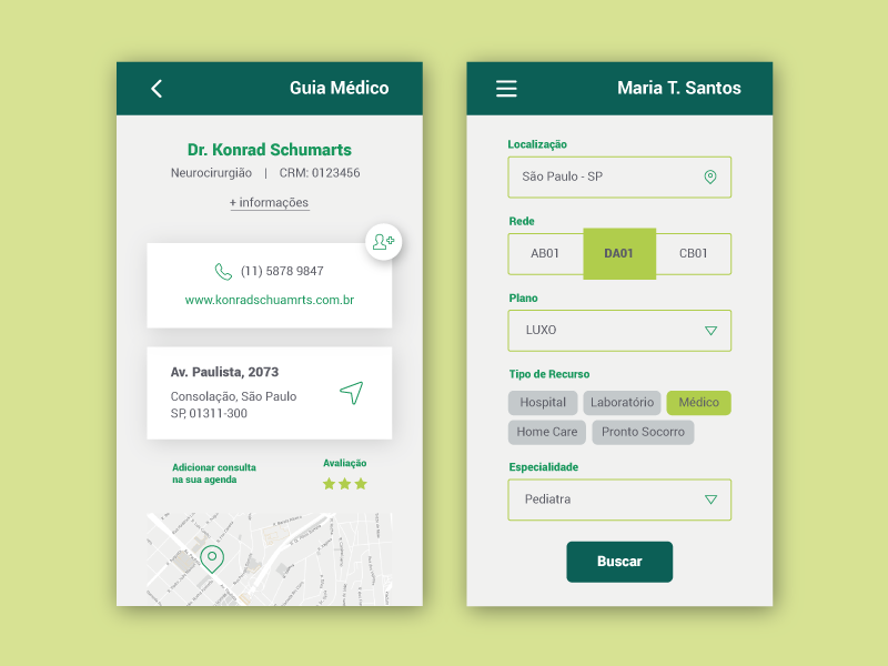 Health care app green form doctor hospital health care health ui  ux ui app