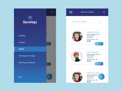 Social Network UI gradient button menu card nav menu design blue app ui