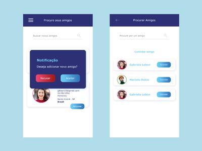 Social Network UI add notification mobile app design mobile app uidesign ux user interface social gradient button design app blue ui
