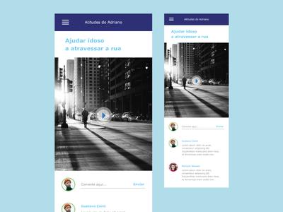 A social networking app comment social ux video interface blue app ui design