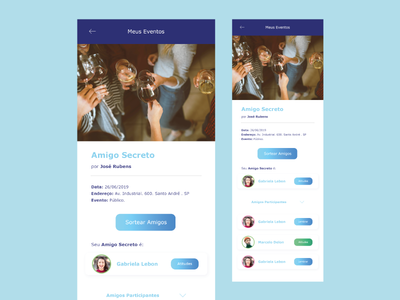 A social networking app networking friend social interface card button ux blue ui app